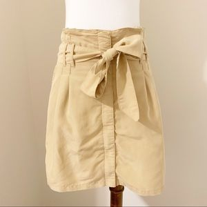 UO KIMCHI BLUE Tan Paper Bag Zip Down Bow Skirt 4